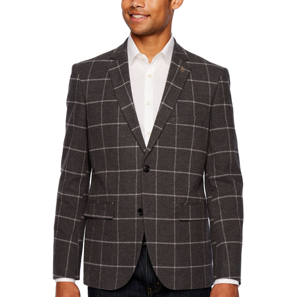 U.S. Polo Assn. Gray Windowpane Slim Fit Sport Coat