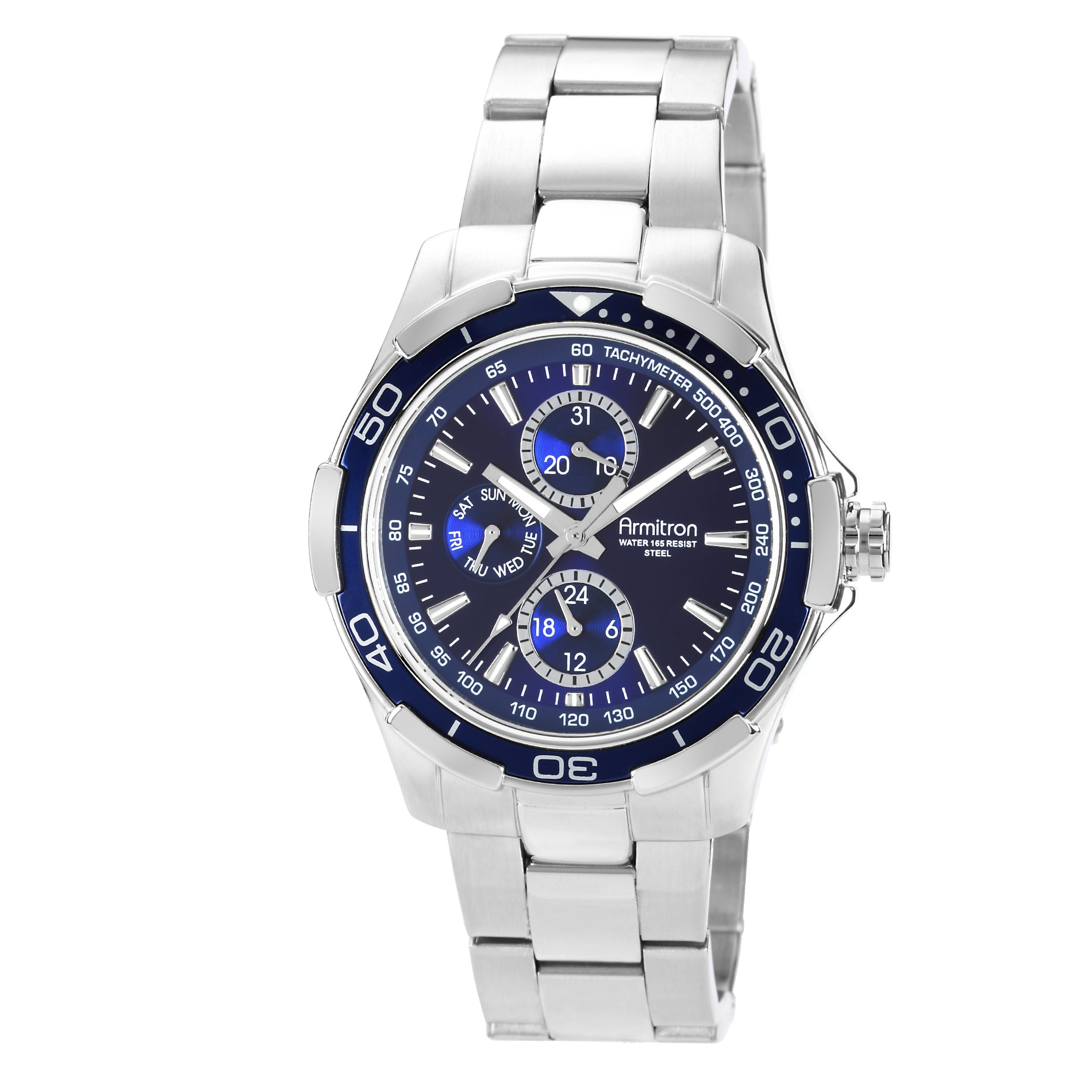 Armitron Men's Blue Dial Silver Tone Bracelet Watch