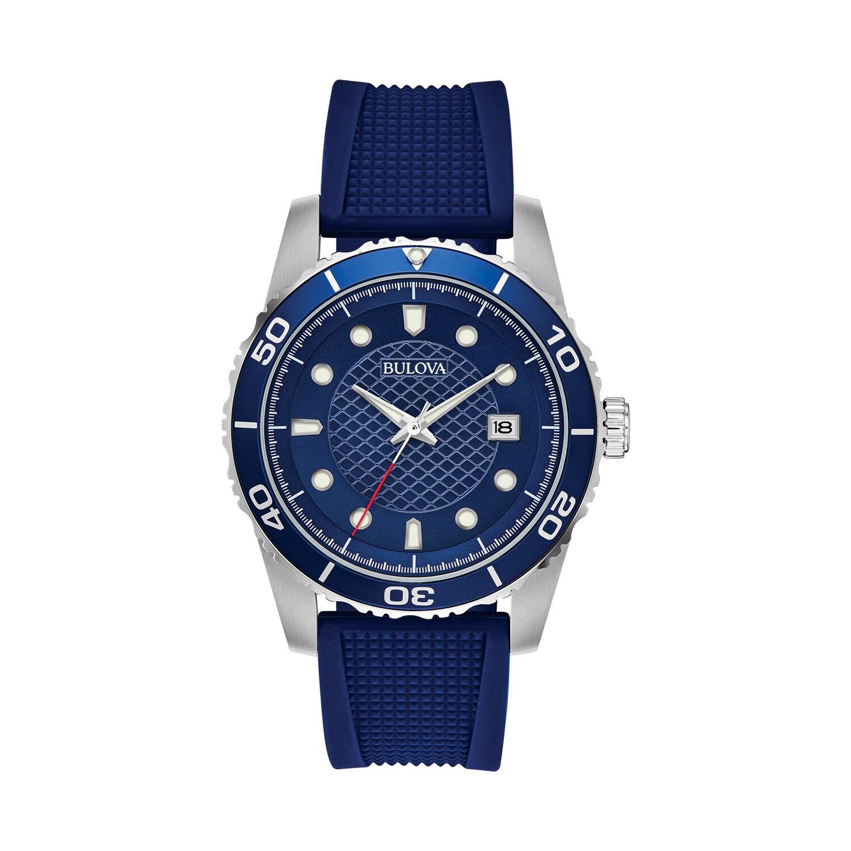 Bulova Men's Blue Silicone Strap Watch - 98B341