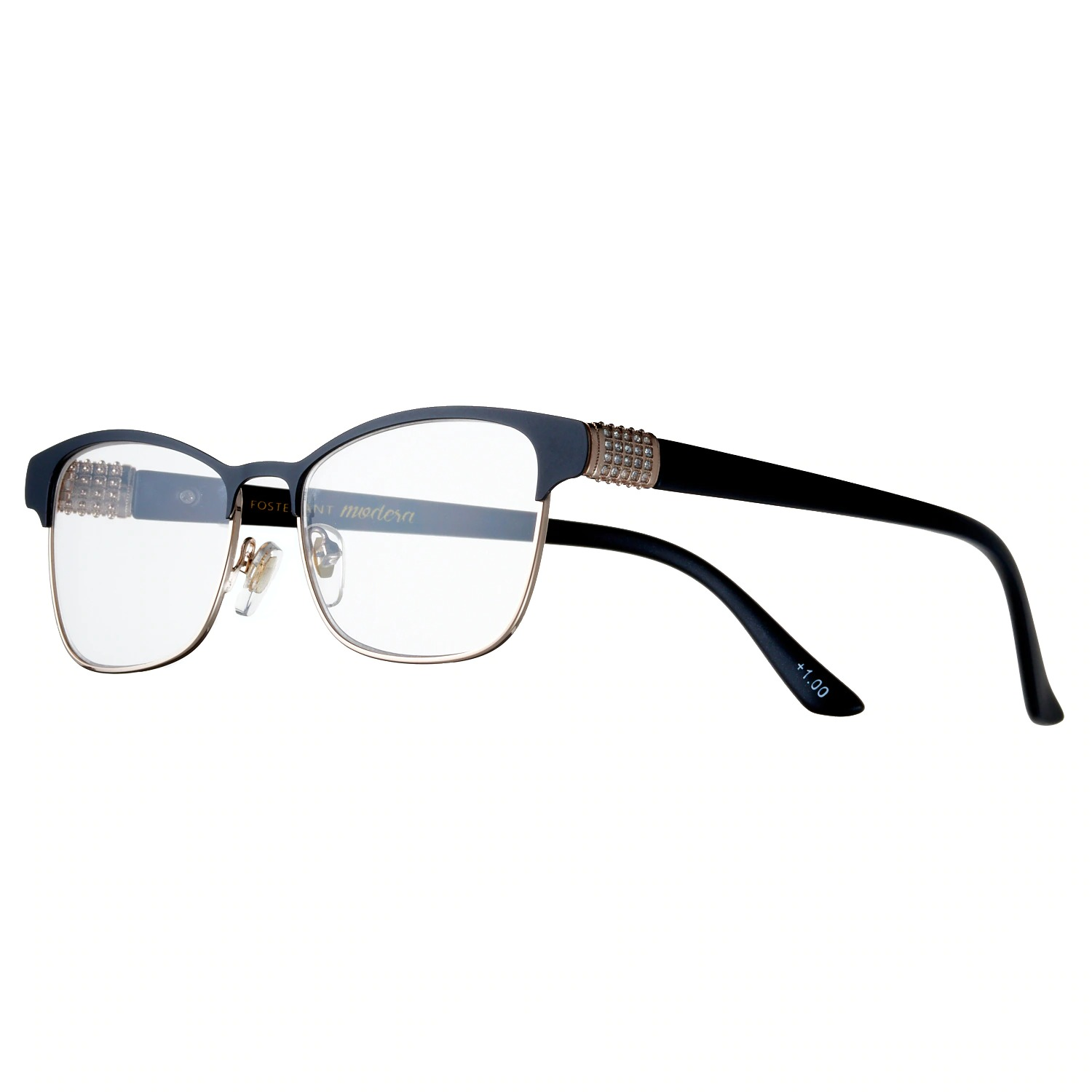 Women's Modera by Foster Grant Attina Crystal Accent Semi-Rimless Cat-Eye Reading Glasses
