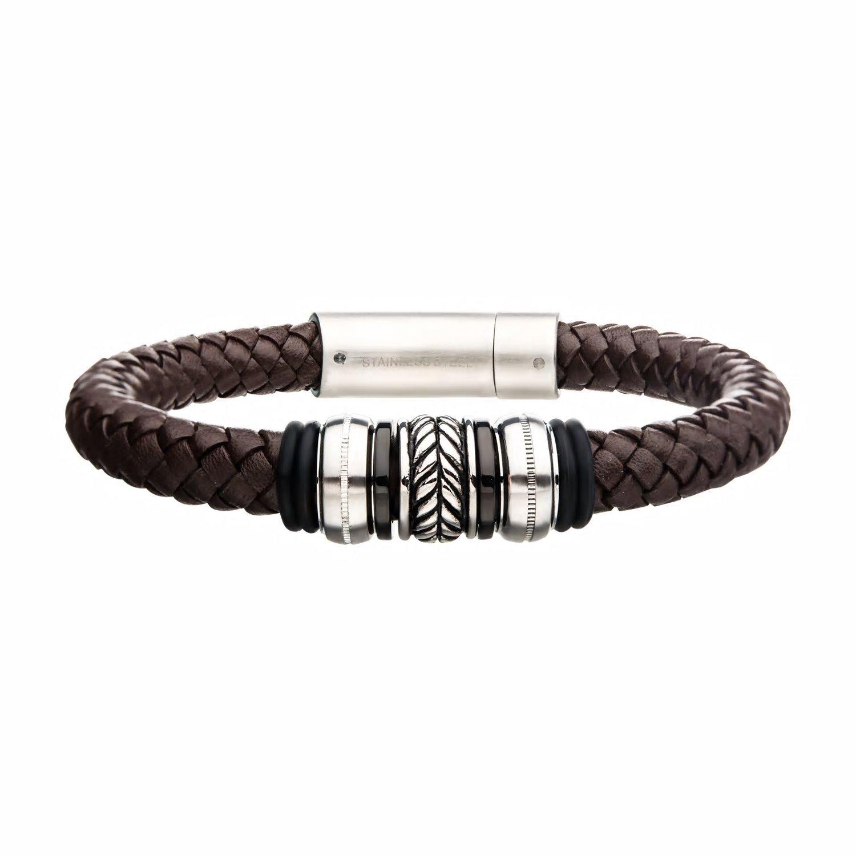 Men's Brown Leather Beaded Bracelet