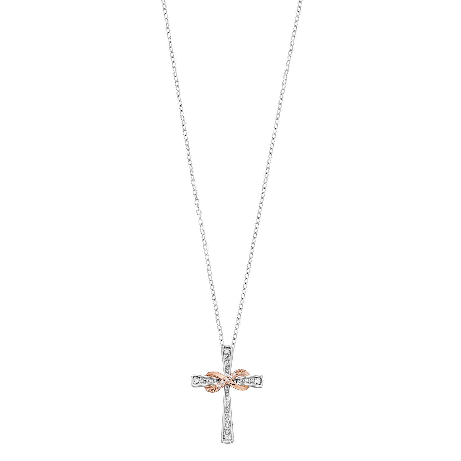 Two Tone 10k Rose Gold Over Silver Diamond Accent Infinity & Cross Pendant