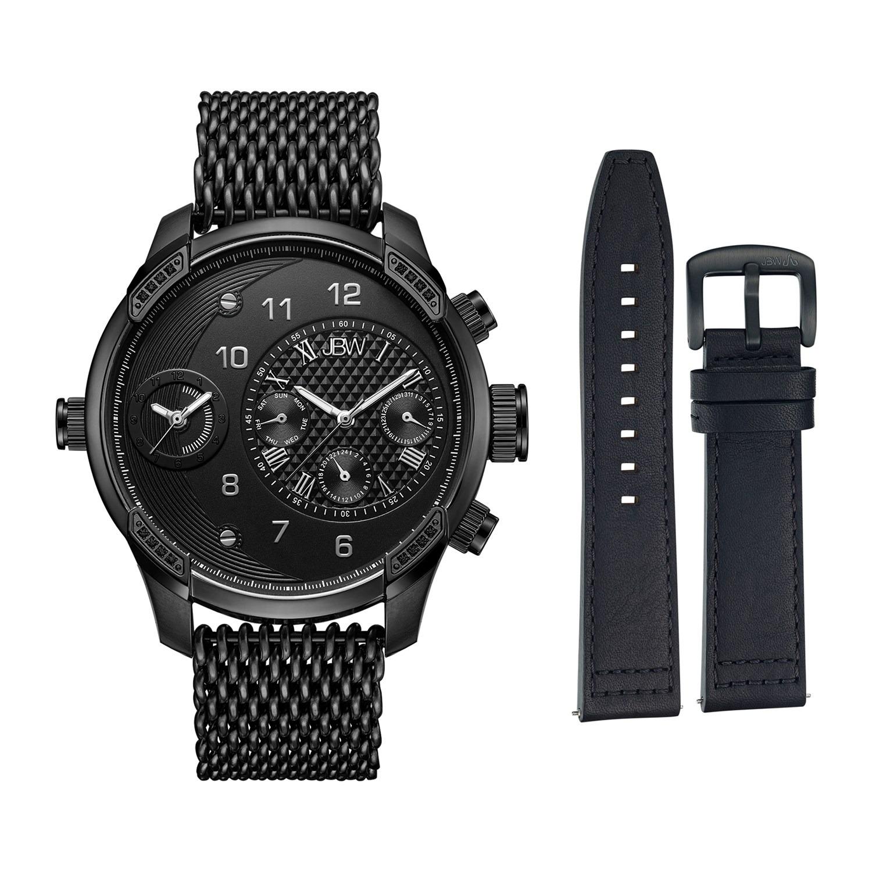 Men's JBW G3 World Traveler Diamond Accent & Crystal Dual Time Watch & Interchangeable Band Set - J6355-SetC