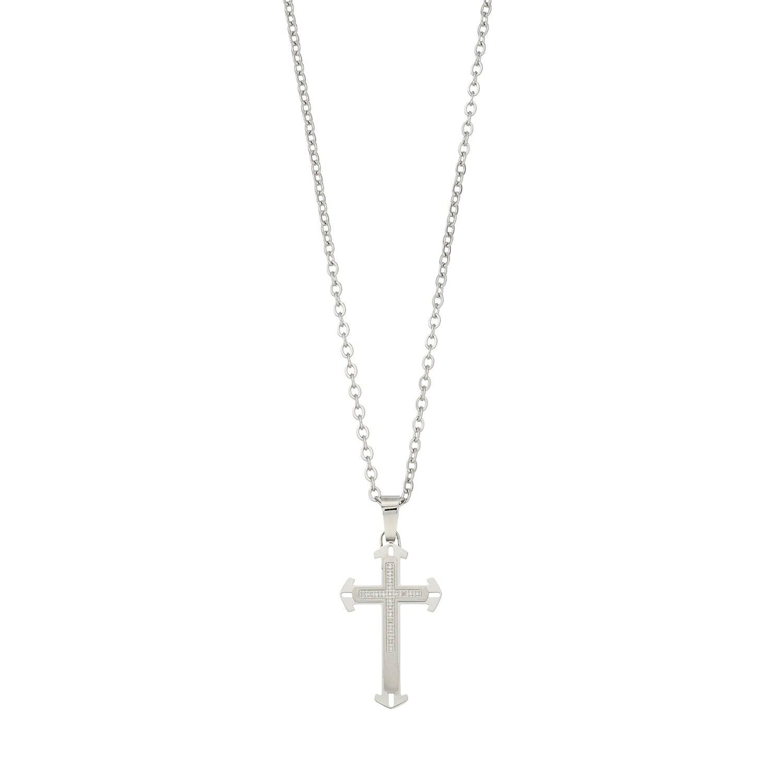 Men's Stainless Steel Diamond Accent Cross Pendant Necklace