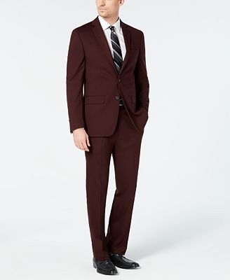 Van Heusen Men's Slim-Fit Flex Stretch Wrinkle-Resistant Wine Solid Suit