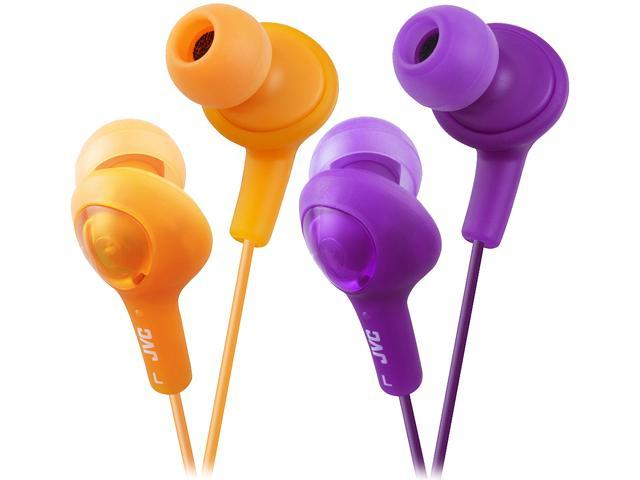 JVC Gumy Plus Inner-Ear Orange & Viiolet iPhone compatible, Gold Plated Connector Canal 2pk Bundle Gummy Plus Inner Ear Headphones