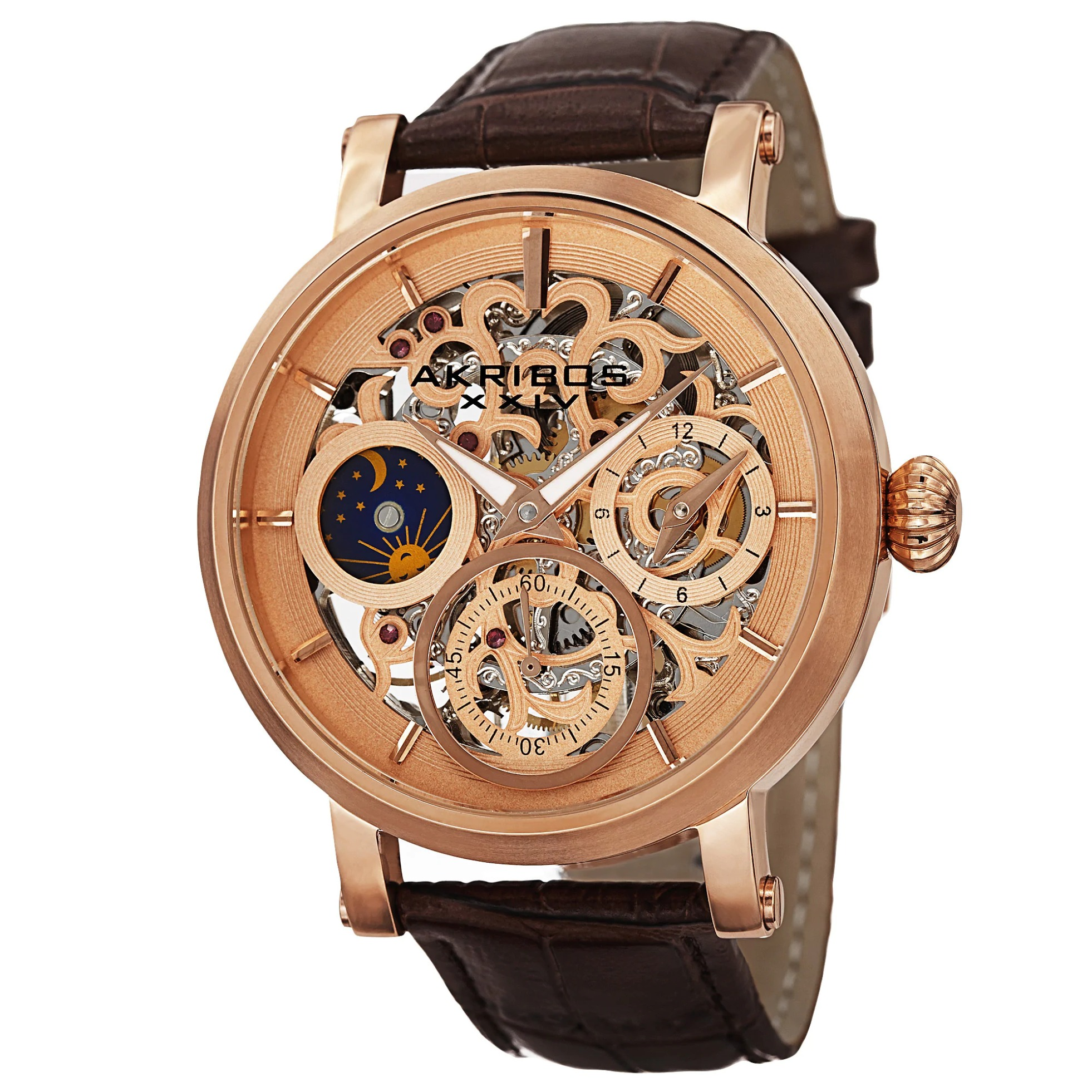 Akribos XXIV Men's Automatic Multifunction Dual-Time Skeleton Dial Leather Rose-Tone Strap Watch