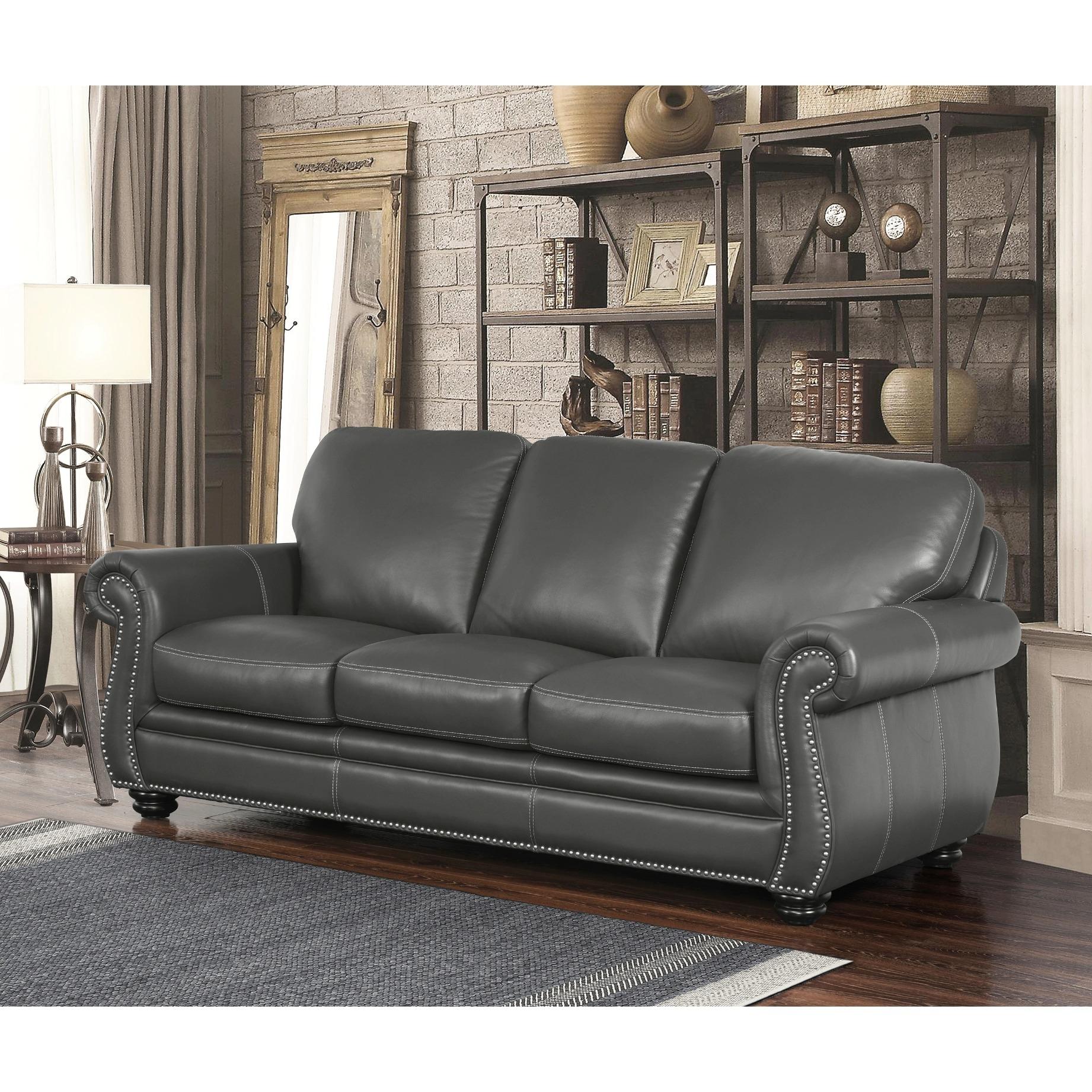 Abbyson Kassidy Grey Leather Sofa