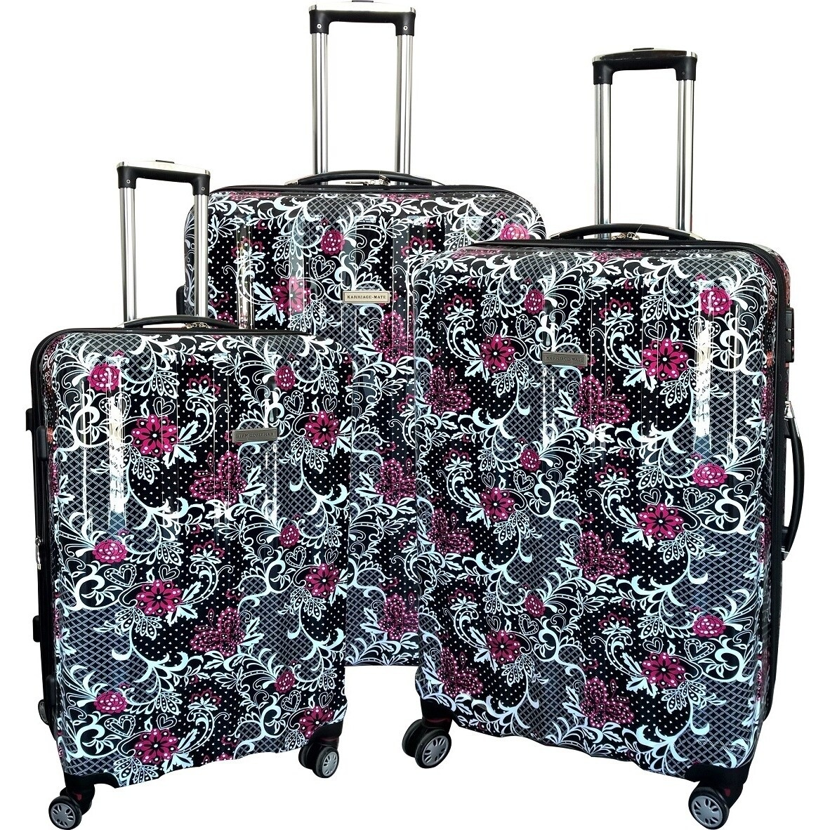 "Karriage-Mate Floral Multicolor 3-piece Hardside Spinner Luggage Set - 17"""