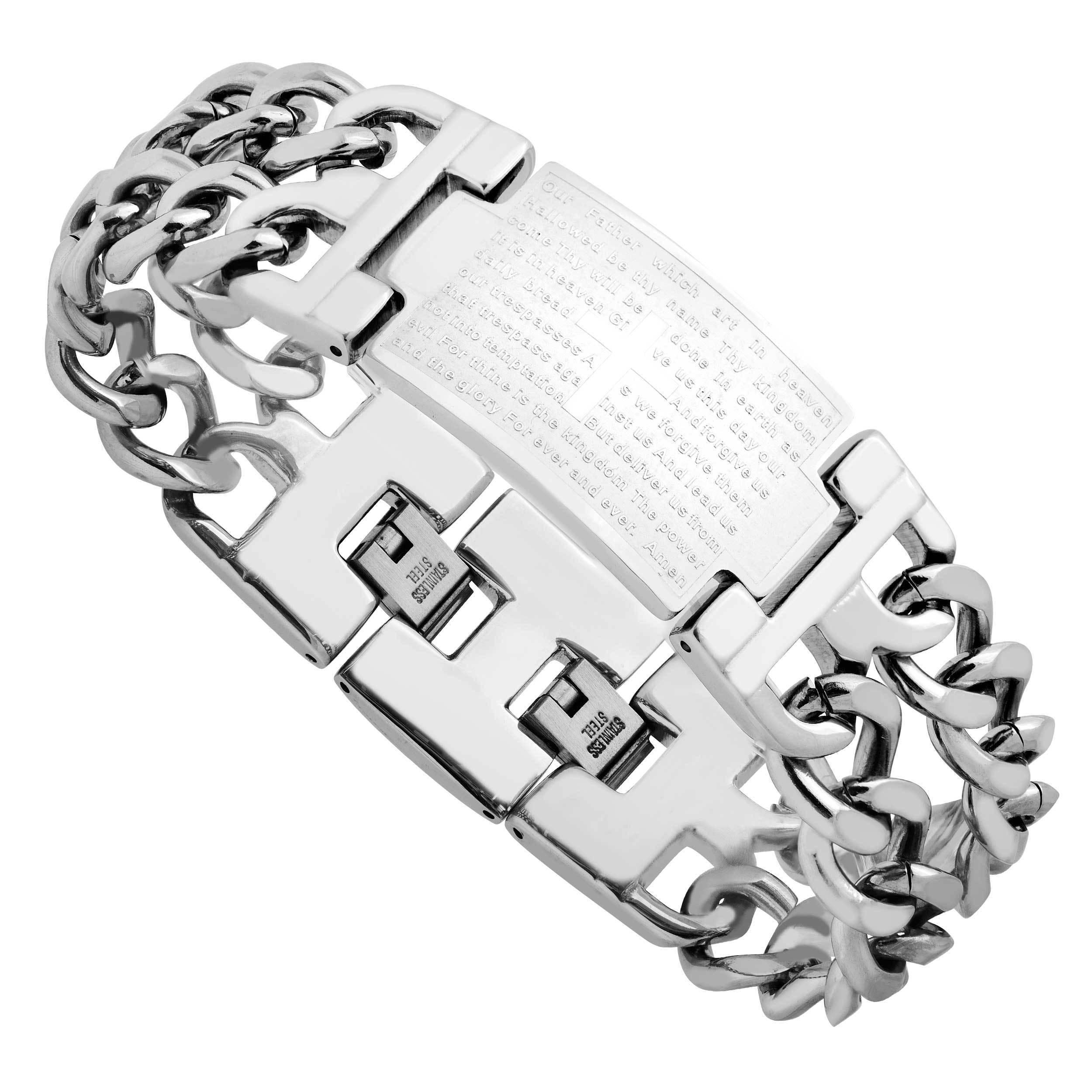 Men's Stainless Steel Lord's Prayer Bracelet