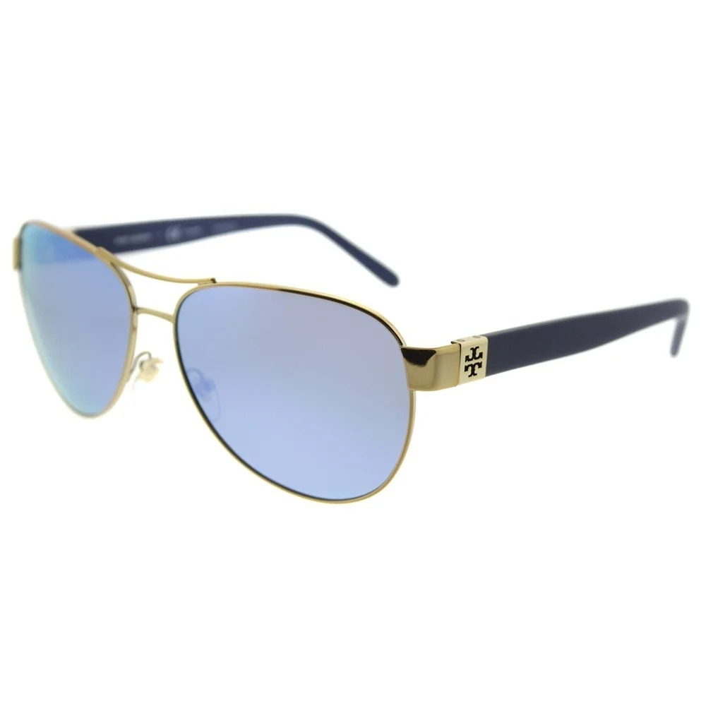 Tory Burch Aviator TY 6051 304122 Womens Gold Frame Blue Flash Mirrored Polarized Lens Sunglasses
