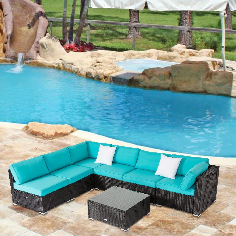 Kinbor All-Weather Rattan Sectional Sofa Patio Furniture Set Cushioned Wicker Sofa Set