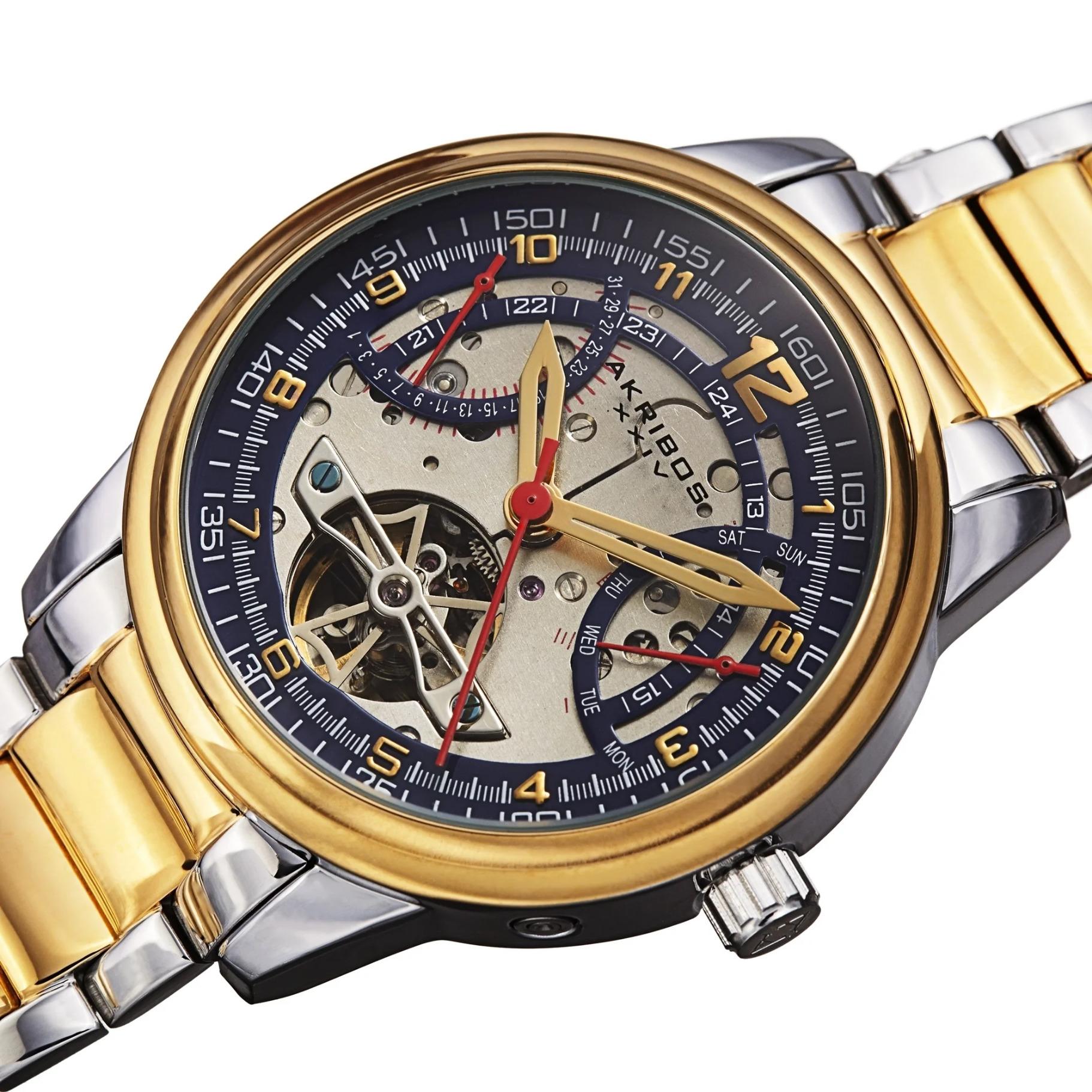 Akribos XXIV Men's Automatic Skeleton Retro-Grade Steel Bracelet Watch