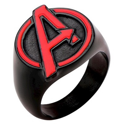 Men's Marvel® Avengers Stainless Steel Logo Ring - Black