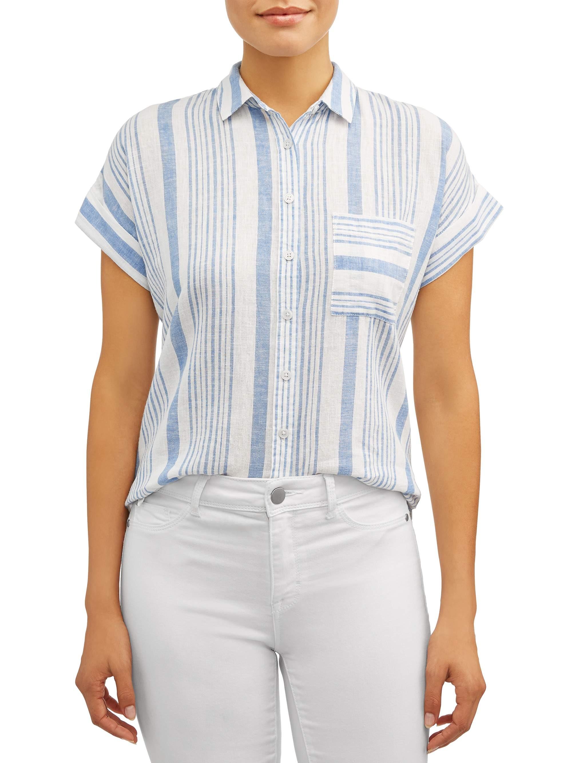 Alexander Jordan Women's Cap Sleeve Linen Blend Top