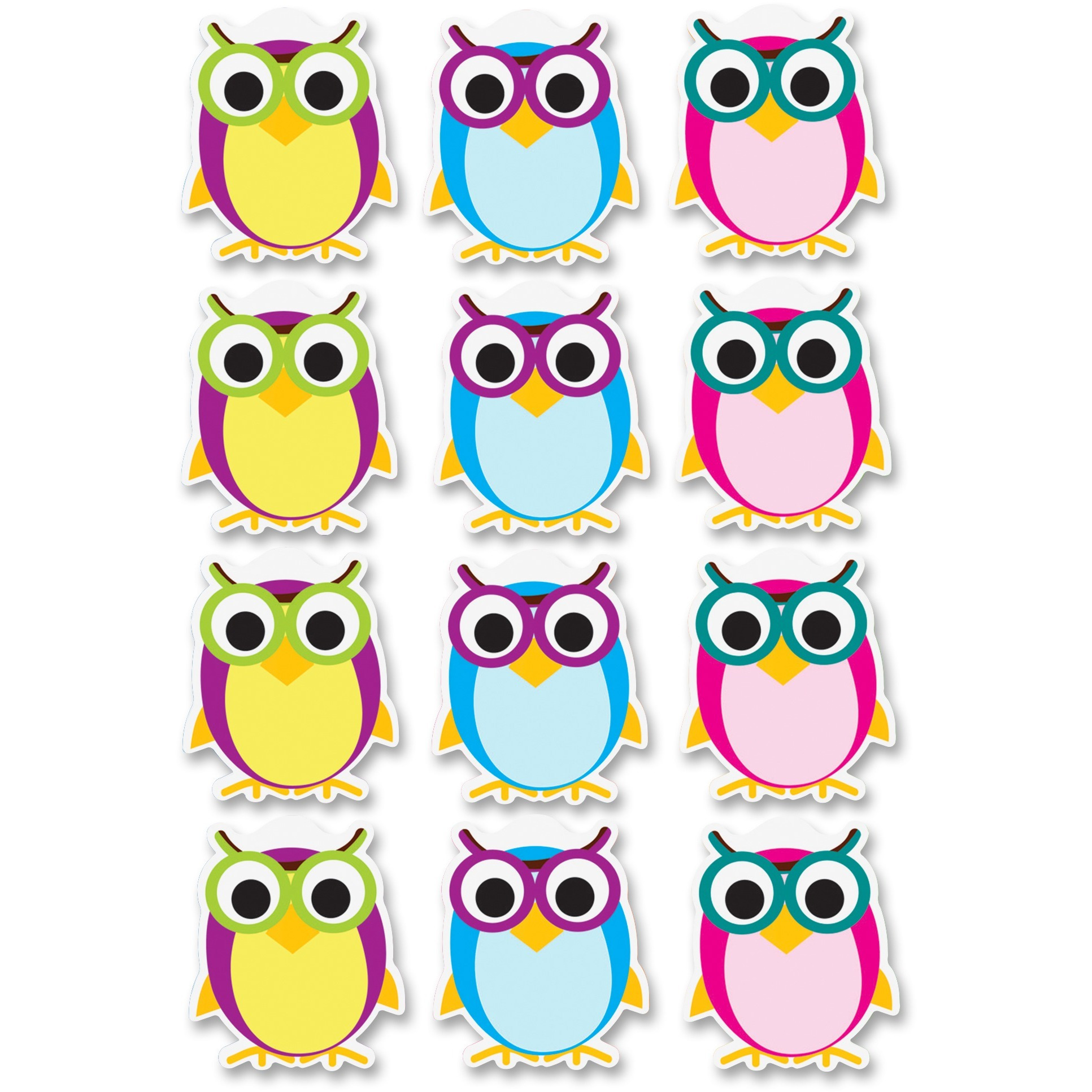 Ashley, ASH10142, Dry Erase Owl Magnets, 12 Piece, Multicolor