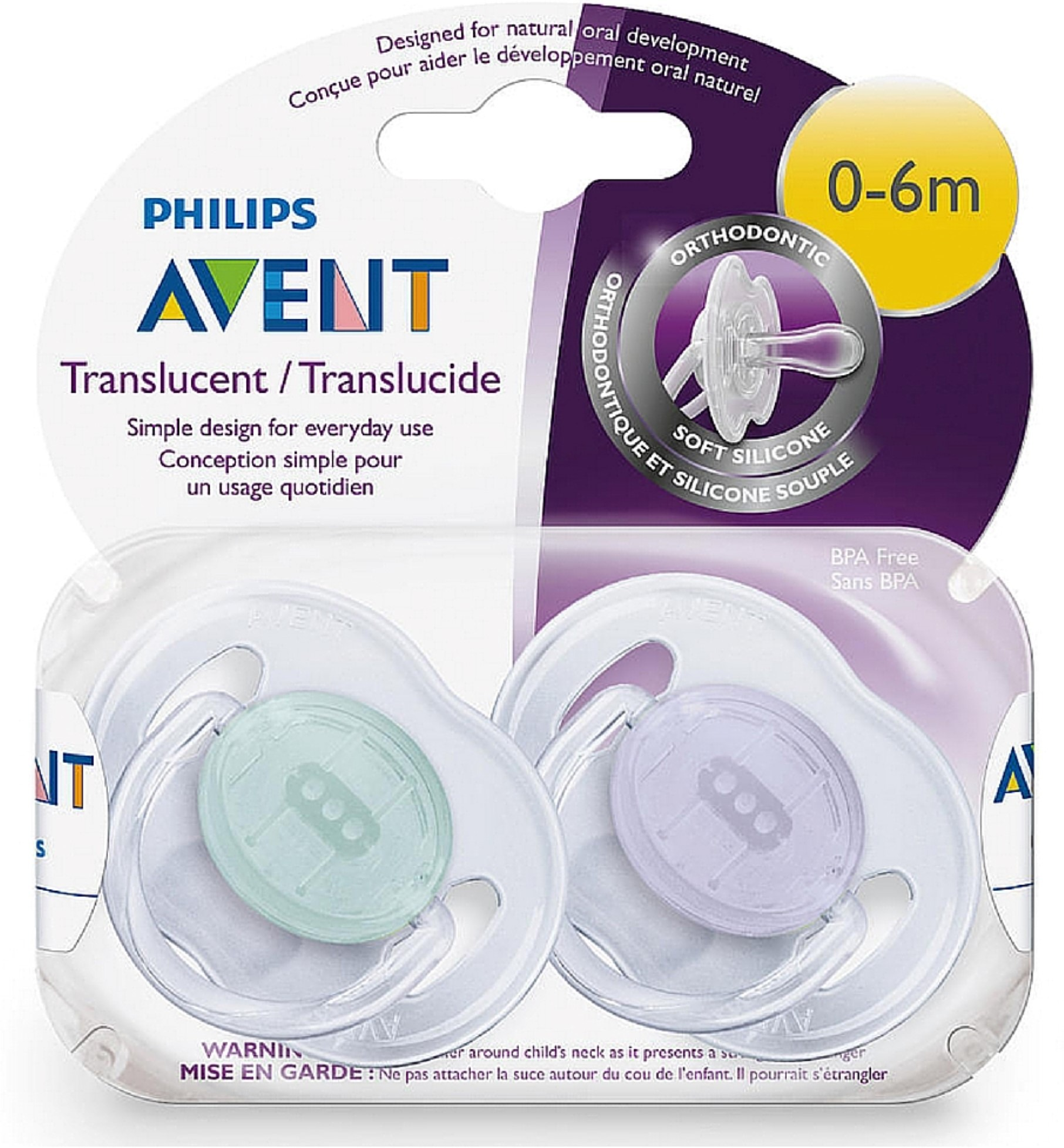 Philips Avent Translucent Pacifiers, 0-6 Months - 2 Counts