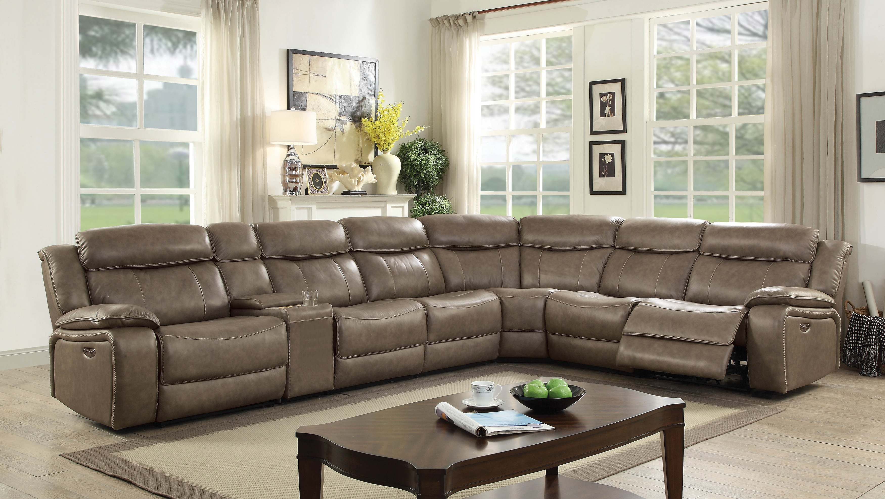 Furniture of America Tuscher Contemporary Gray Leather Recliner Sectional Sofa (Large)