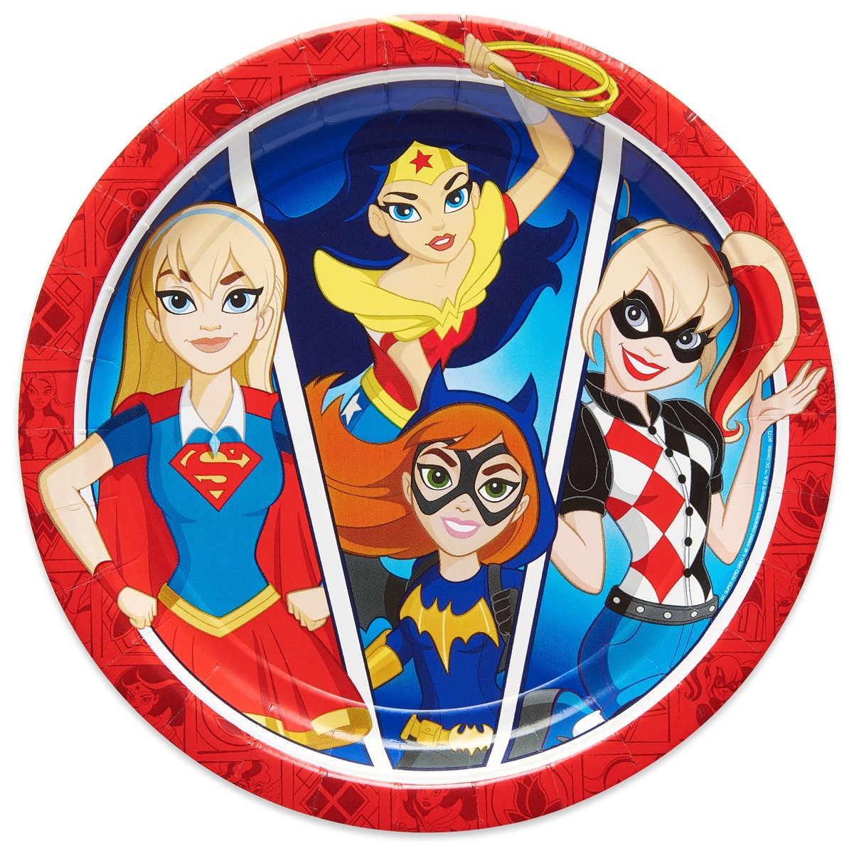 """9"""" DC Super Hero Girl Round Paper Party Plates, 8ct"""