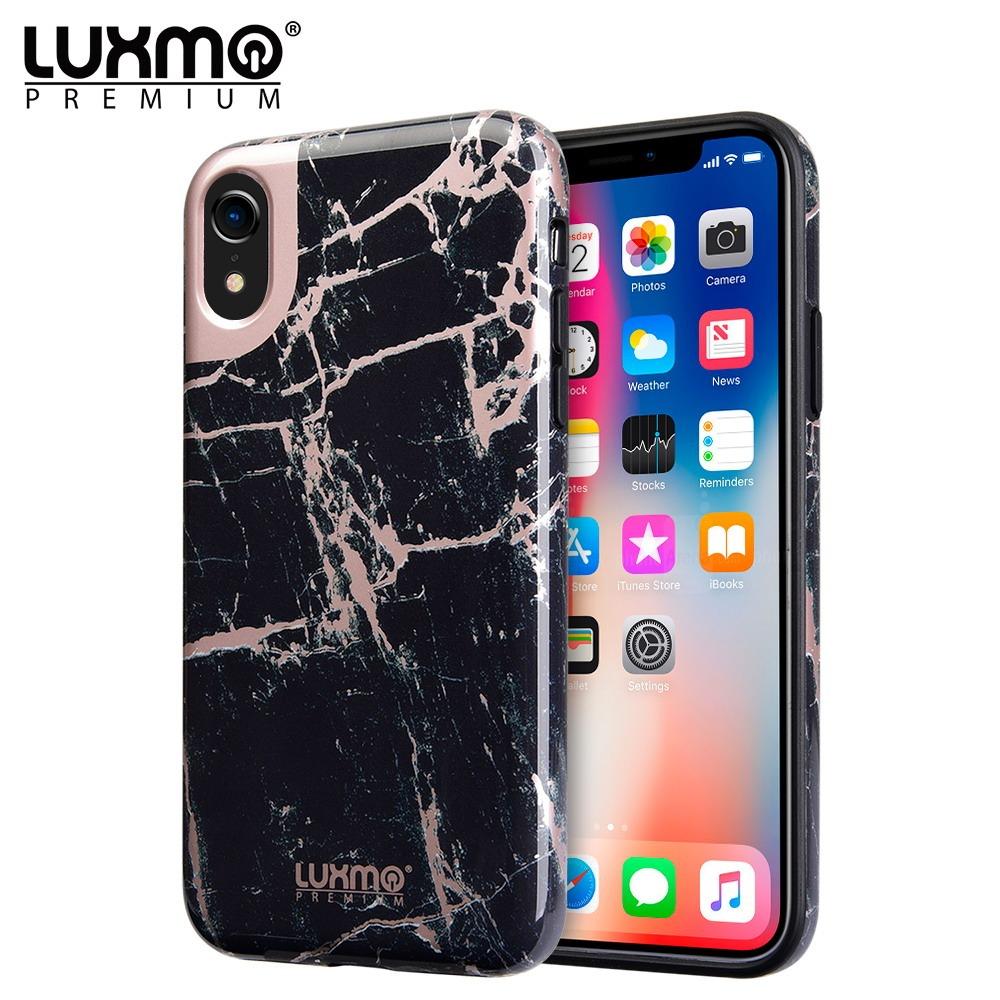 MUNDAZE Black Rose Gold Marble Design Case For Apple iPhone XR Phone Item