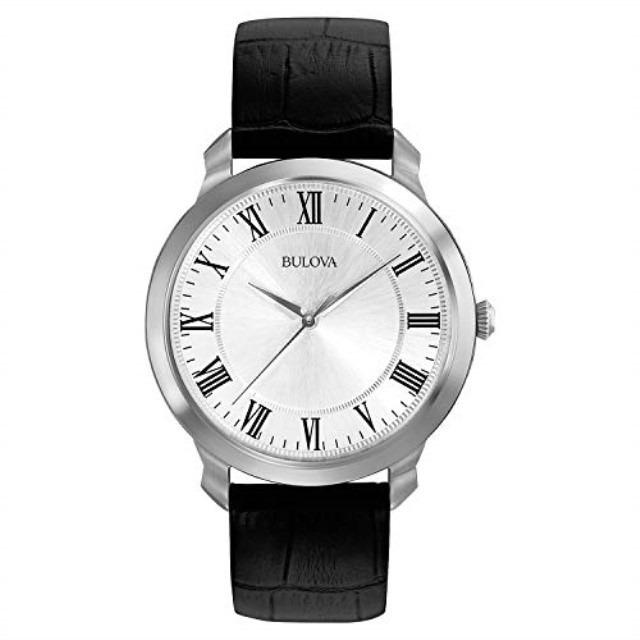 Bulova Men's Classic Black Leather Strap Watch