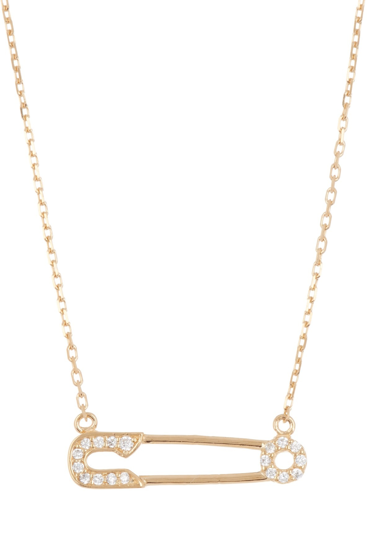 ADORNIA 14K Yellow Gold Plated Sterling Silver Pave CZ Safety Pin Pendant Necklace
