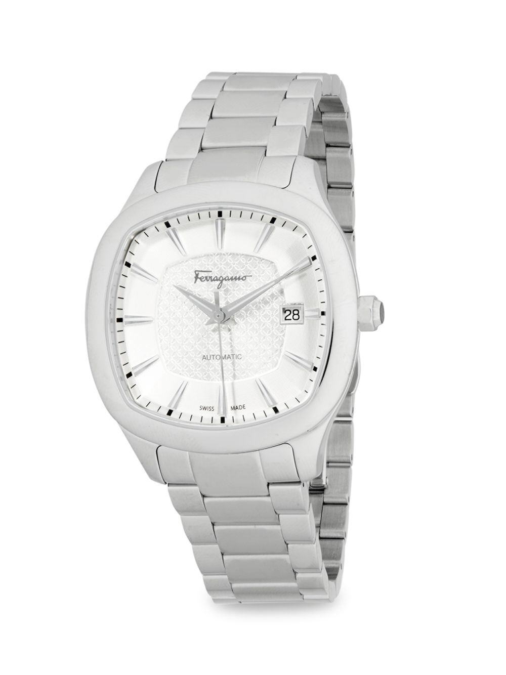 Analog Rounded Stainless Steel Bracelet Watch