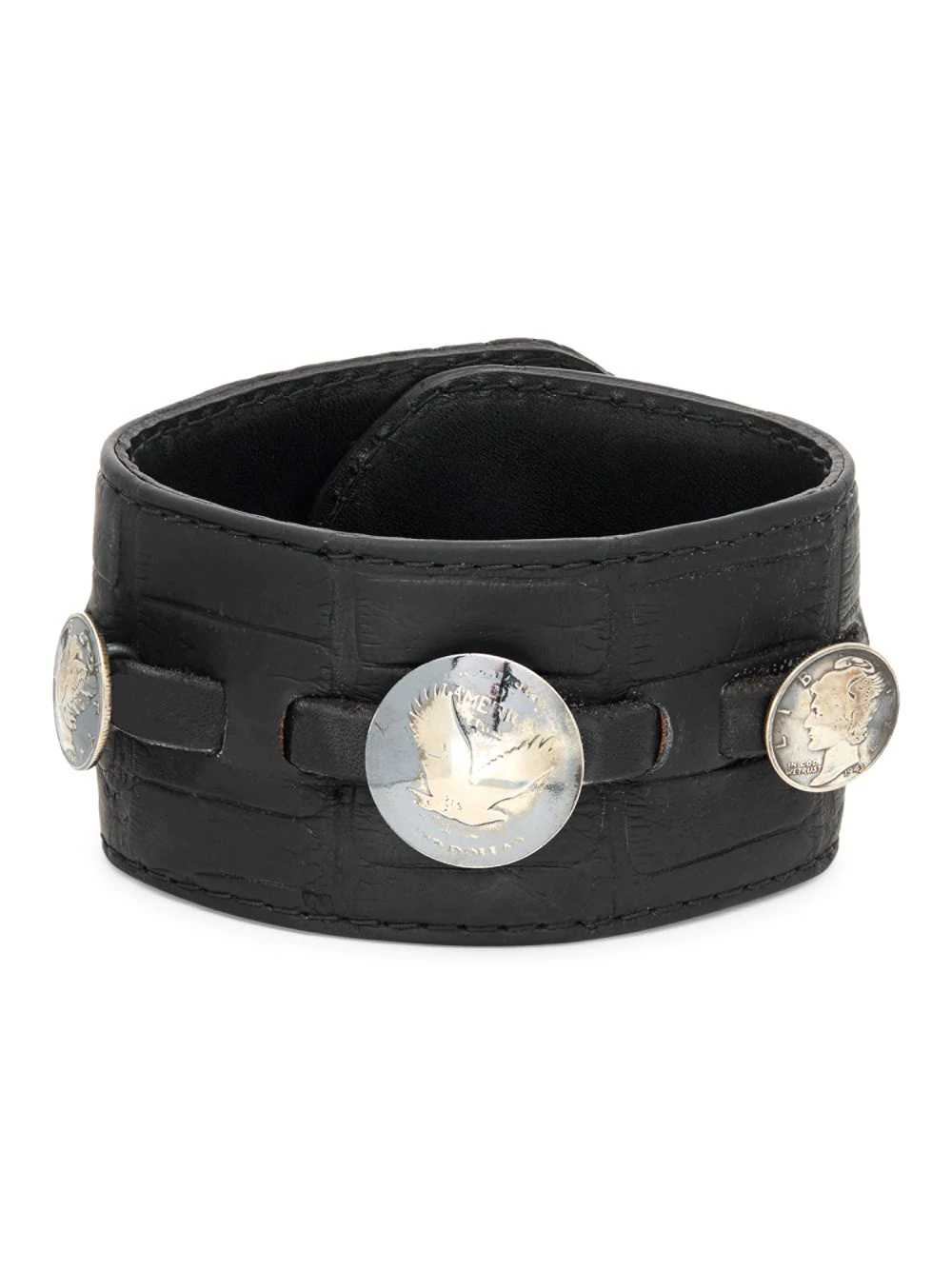 Leather & Coin Cuff Bracelet