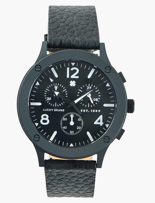 Rockpoint Multi-Functional Black Leather Watch
