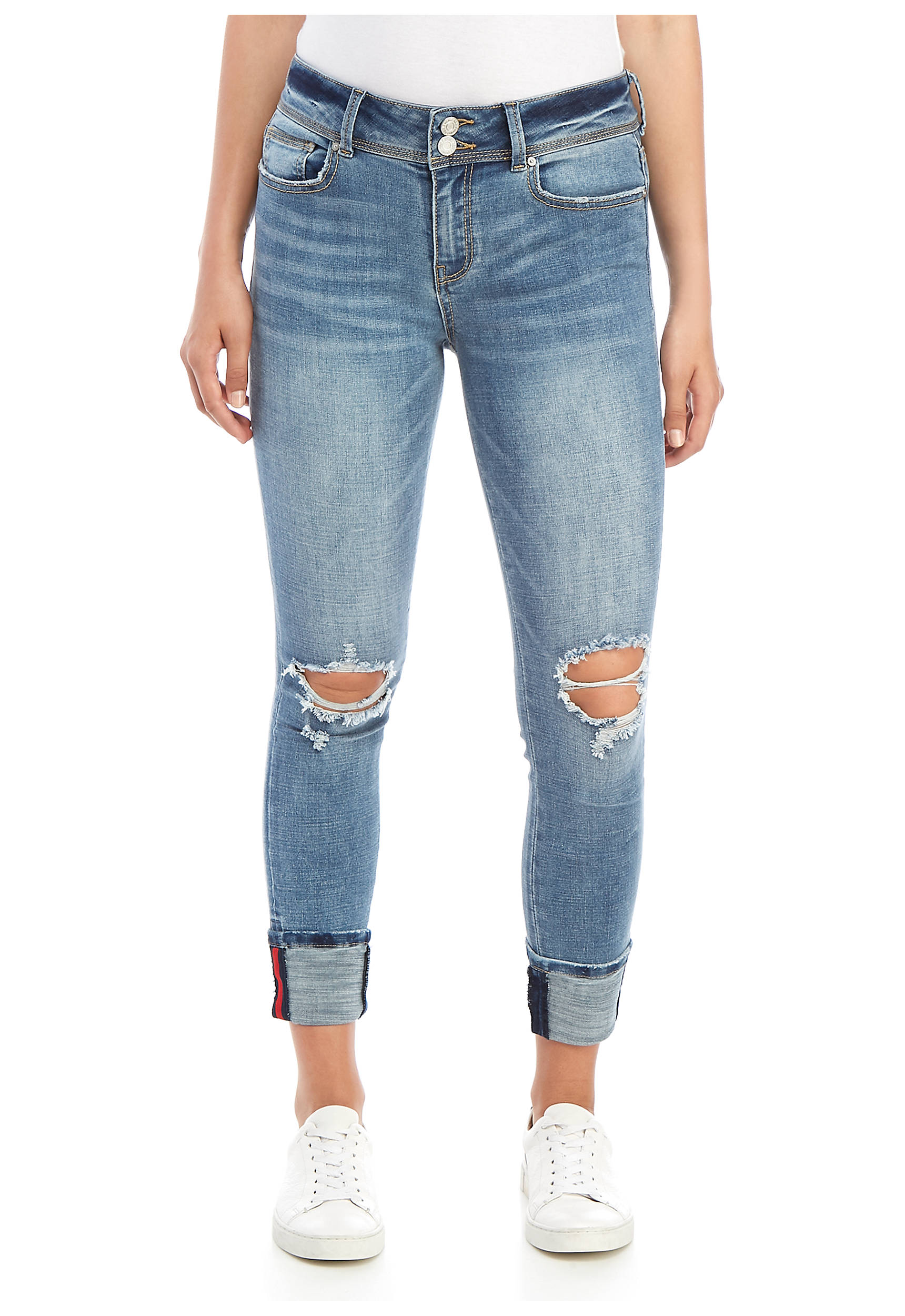 Double Button Cross Hatch Cuff Jeans