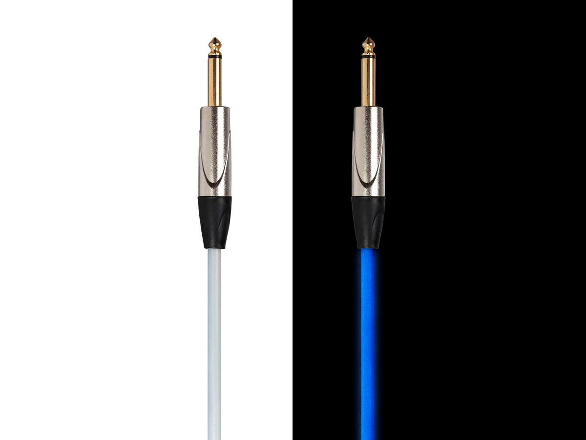Stage Right by Monoprice GLOW 1/4-inch TS Male 21AWG Guitar/Instrument Cable UV Activated Blue 50ft