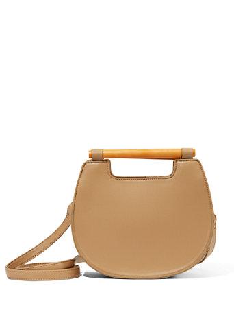 Wooden-Handle Crossbody Bag