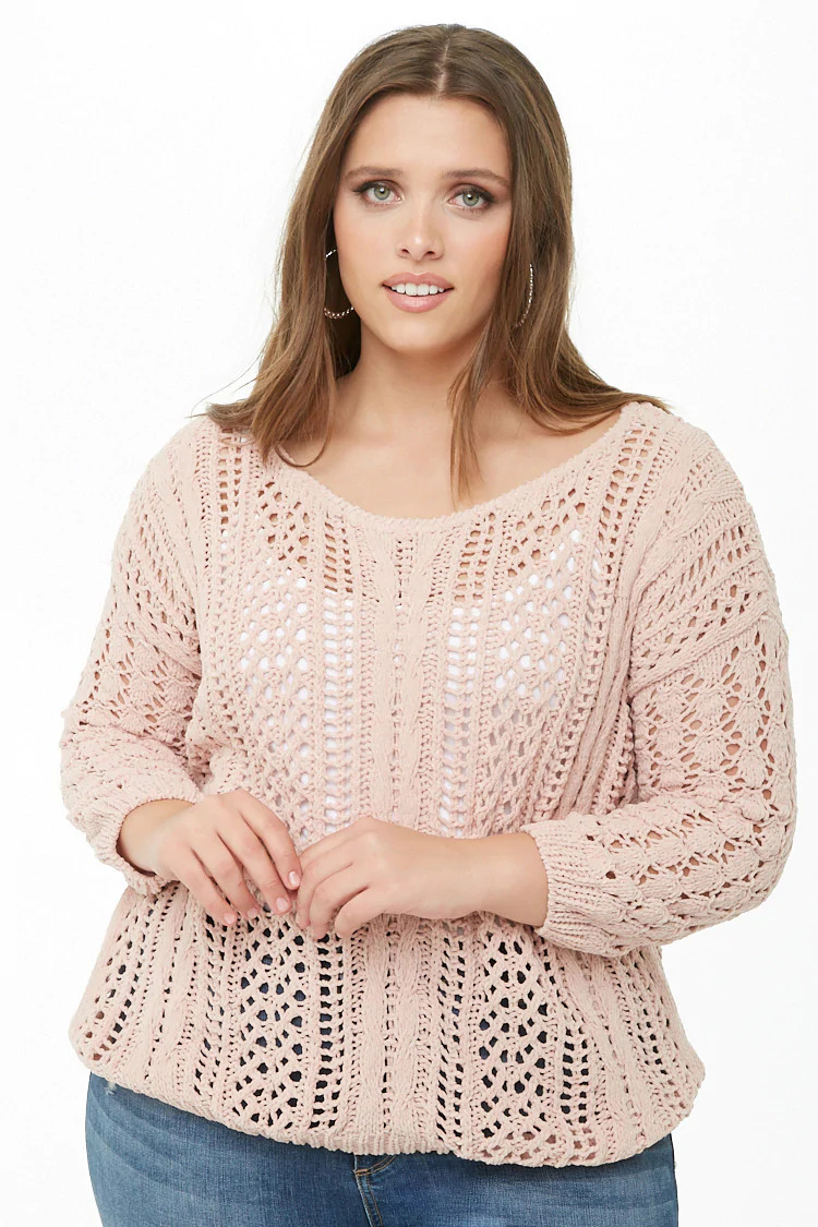 Plus Size Chenille Open-Knit Sweater