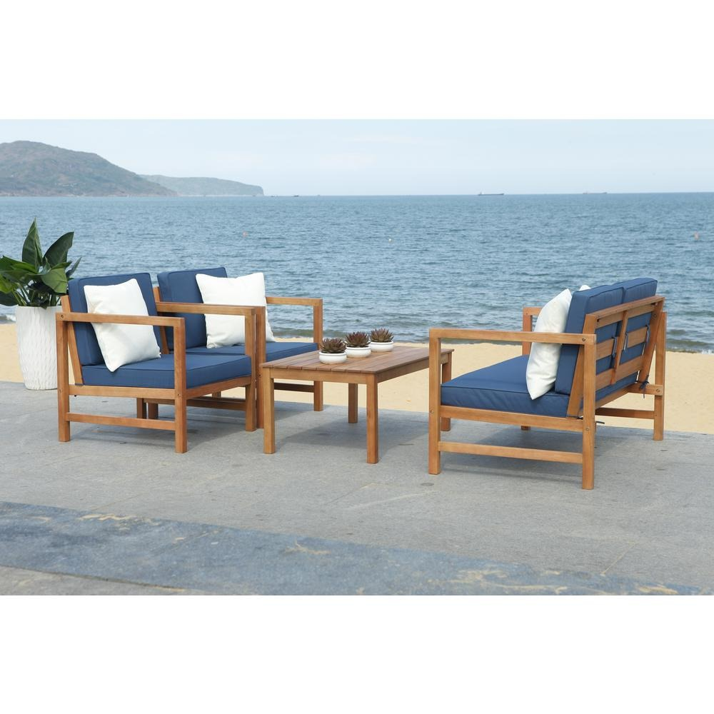 Montez Natural 4-Piece Wood Patio Conversation Set with Navy Cushions